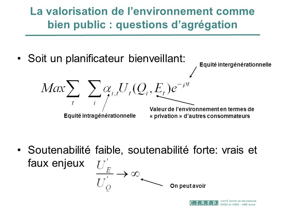 La valorisation de lenvironnement comme bien public : questions dagrégation Soit un planificateur bienveillant: Soutenabilité faible, soutenabilité fo