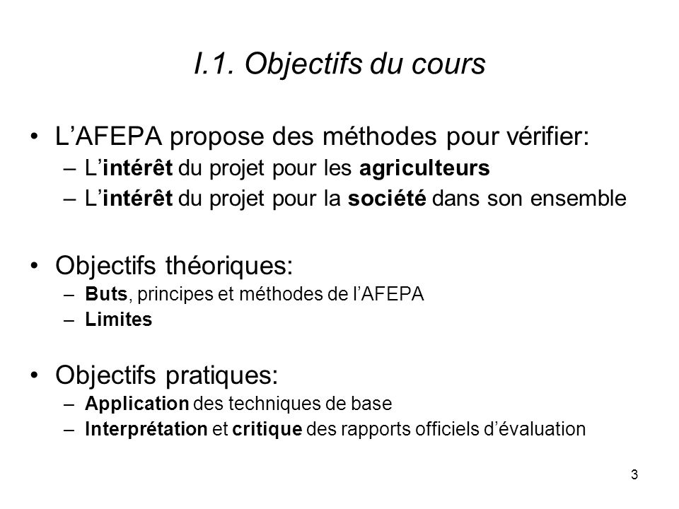 4 I.2.Motivation du cours I.2.1. Le développement agricole: toujours une priorité I.2.2.