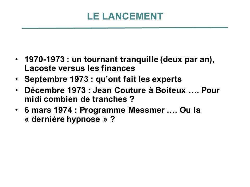 LE LANCEMENT 1970-1973 : un tournant tranquille (deux par an), Lacoste versus les finances Septembre 1973 : quont fait les experts Décembre 1973 : Jea