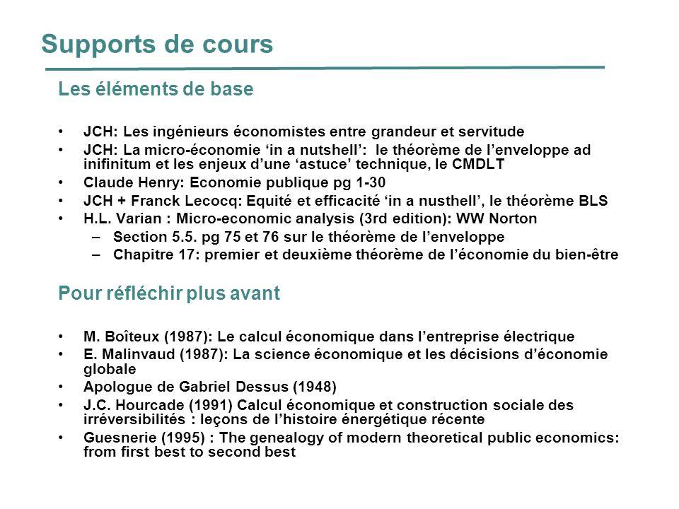 Supports de cours Les éléments de base JCH: Les ingénieurs économistes entre grandeur et servitude JCH: La micro-économie in a nutshell: le théorème d