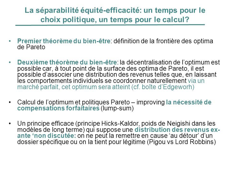 La séparabilité équité-efficacité: un temps pour le choix politique, un temps pour le calcul? Premier théorème du bien-être: définition de la frontièr