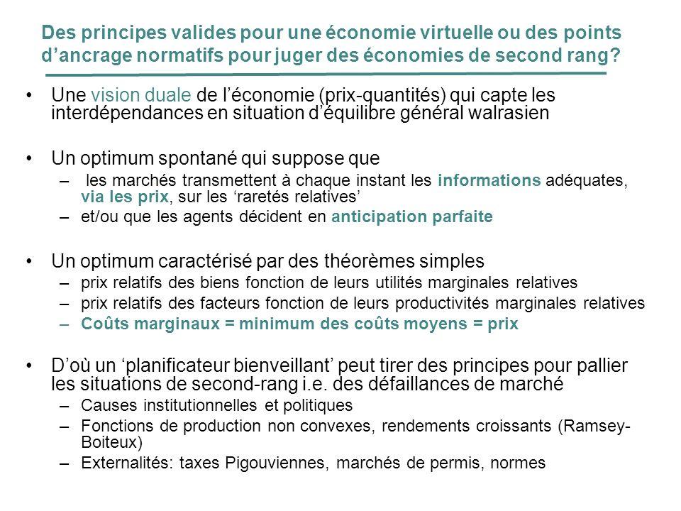Des principes valides pour une économie virtuelle ou des points dancrage normatifs pour juger des économies de second rang? Une vision duale de lécono