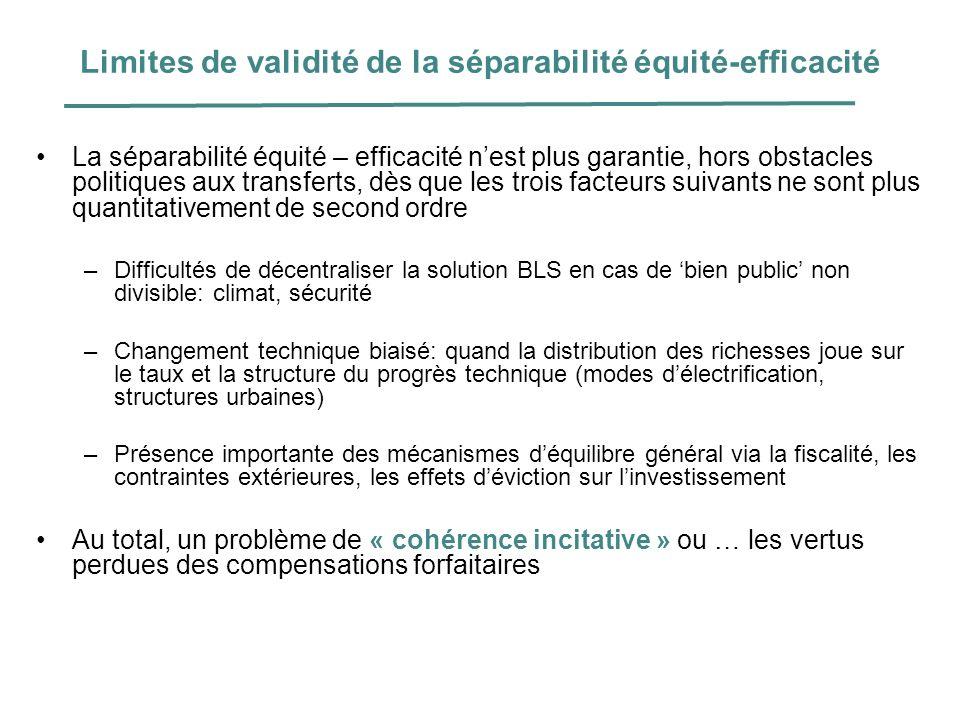 Limites de validité de la séparabilité équité-efficacité La séparabilité équité – efficacité nest plus garantie, hors obstacles politiques aux transfe