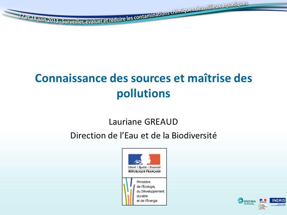 Connaissance des sources et maîtrise des pollutions Lauriane GREAUD Direction de lEau et de la Biodiversité