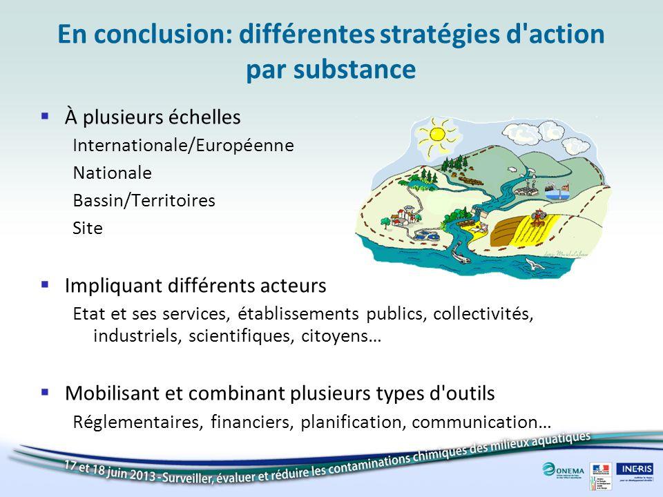 En conclusion: différentes stratégies d'action par substance À plusieurs échelles Internationale/Européenne Nationale Bassin/Territoires Site Impliqua