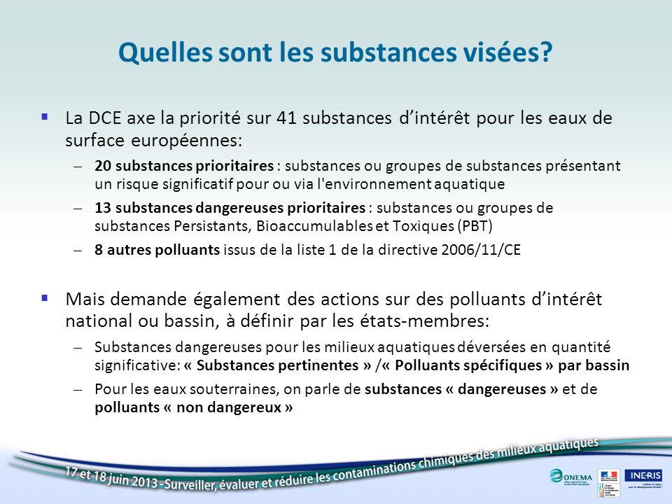 Quelles sont les substances visées? La DCE axe la priorité sur 41 substances dintérêt pour les eaux de surface européennes: – 20 substances prioritair
