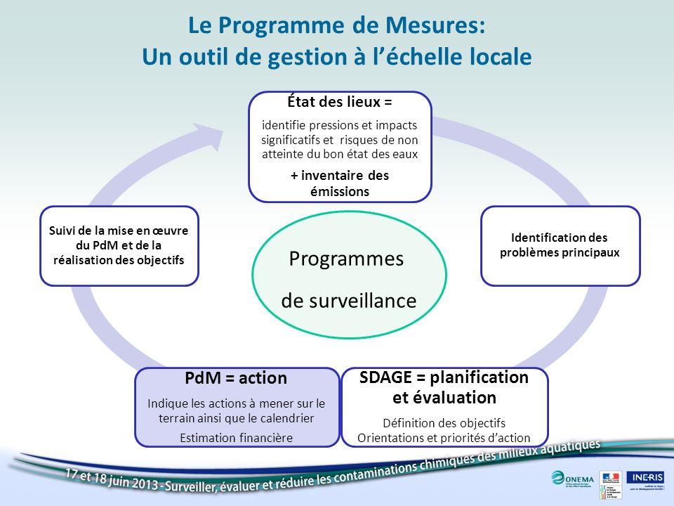 Le Programme de Mesures: Un outil de gestion à léchelle locale État des lieux = identifie pressions et impacts significatifs et risques de non atteint
