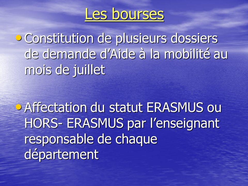 Les bourses Constitution de plusieurs dossiers de demande dAide à la mobilité au mois de juillet Constitution de plusieurs dossiers de demande dAide à