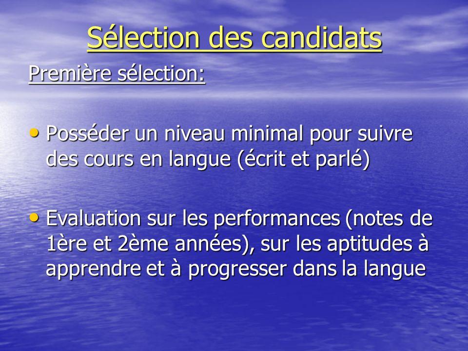 Sélection des candidats Première sélection: Posséder un niveau minimal pour suivre des cours en langue (écrit et parlé) Posséder un niveau minimal pou
