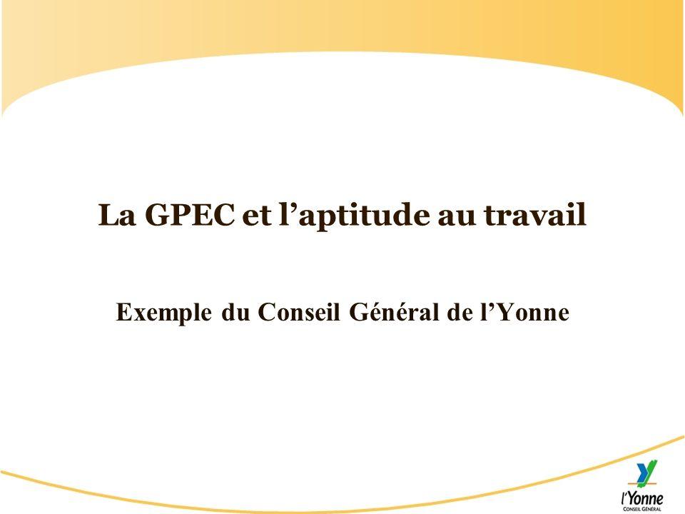La GPEC et laptitude au travail Exemple du Conseil Général de lYonne