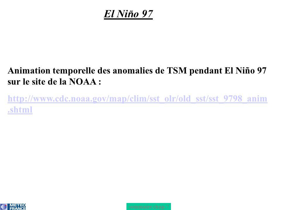 sommaire chap.7 El Ni ñ o 97 Animation temporelle des anomalies de TSM pendant El Niño 97 sur le site de la NOAA : http://www.cdc.noaa.gov/map/clim/ss