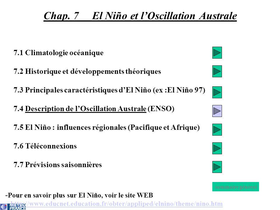 - Pour en savoir plus sur El Niño, voir le site WEB http://www.educnet.education.fr/obter/appliped/elnino/theme/nino.htm 7.1 Climatologie océanique 7.