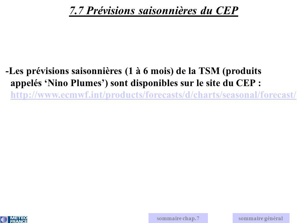 -Les prévisions saisonnières (1 à 6 mois) de la TSM (produits appelés Nino Plumes) sont disponibles sur le site du CEP : http://www.ecmwf.int/products