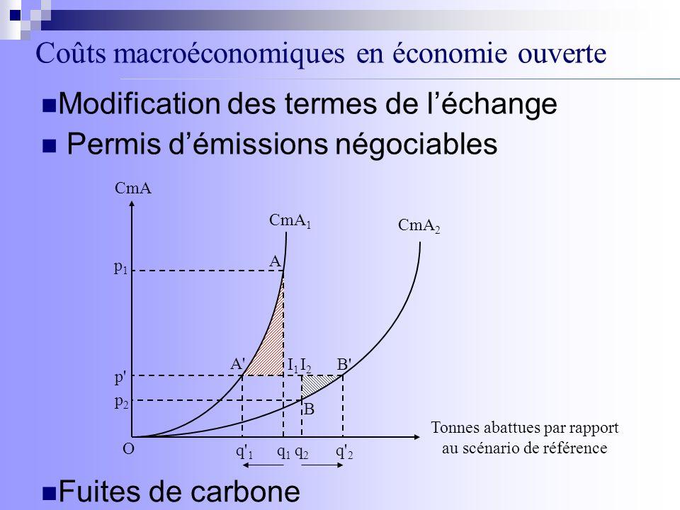 Coûts macroéconomiques en économie ouverte Modification des termes de léchange Permis démissions négociables Fuites de carbone CmA Tonnes abattues par