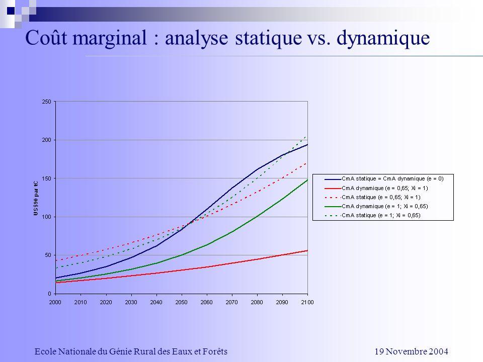 Coût marginal : analyse statique vs. dynamique Ecole Nationale du Génie Rural des Eaux et Forêts 19 Novembre 2004
