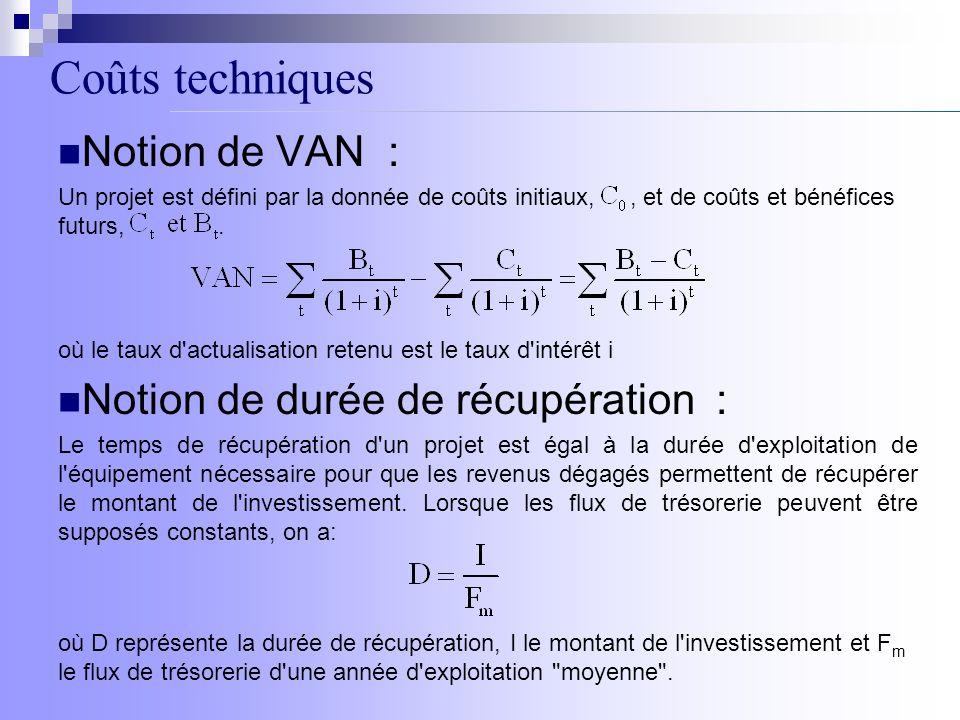 Coûts techniques Notion de VAN : Un projet est défini par la donnée de coûts initiaux,, et de coûts et bénéfices futurs,. Notion de durée de récupérat