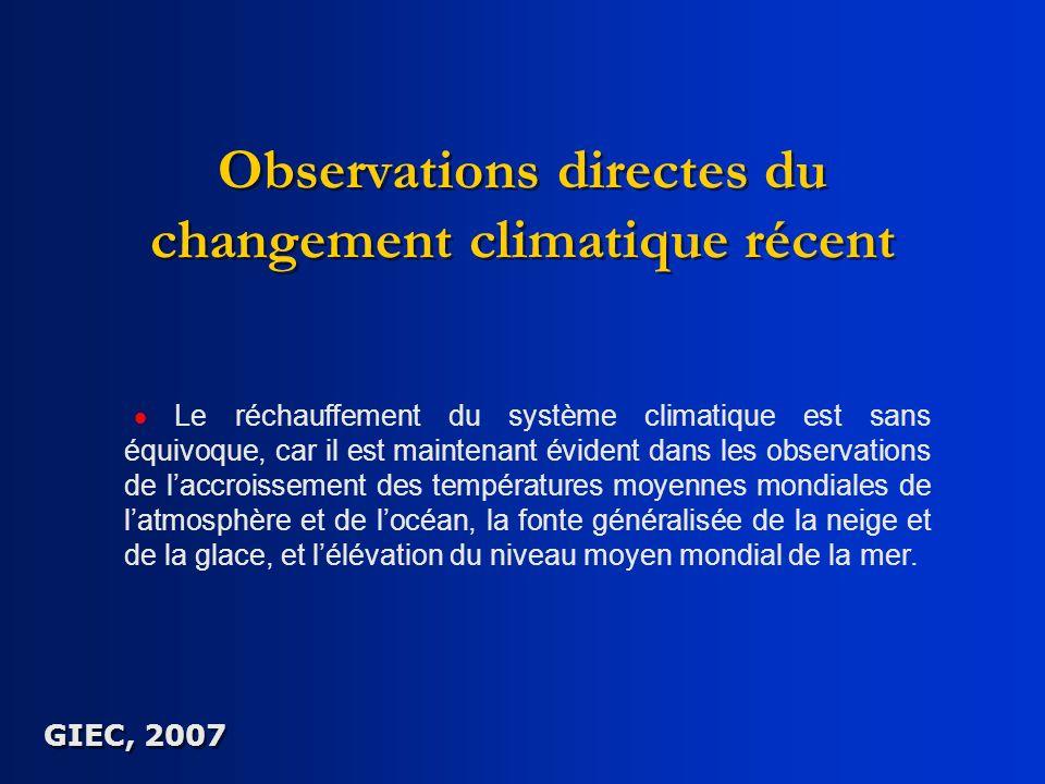 Observations directes du changement climatique récent Le réchauffement du système climatique est sans équivoque, car il est maintenant évident dans le