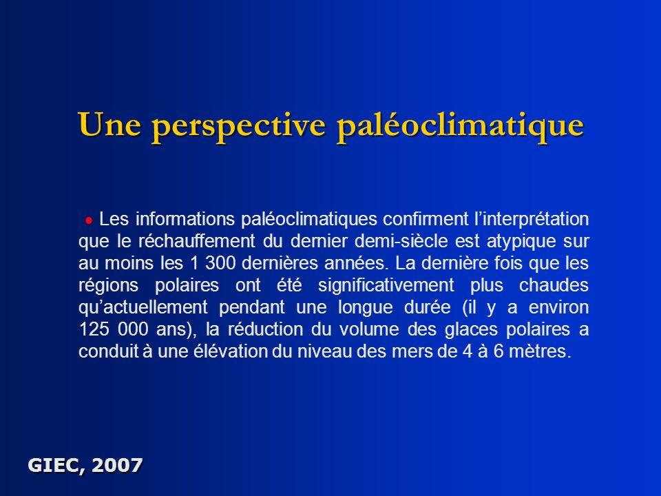Une perspective paléoclimatique Les informations paléoclimatiques confirment linterprétation que le réchauffement du dernier demi-siècle est atypique