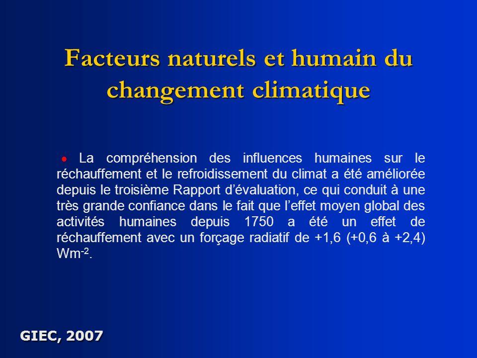 Facteurs naturels et humain du changement climatique La compréhension des influences humaines sur le réchauffement et le refroidissement du climat a é