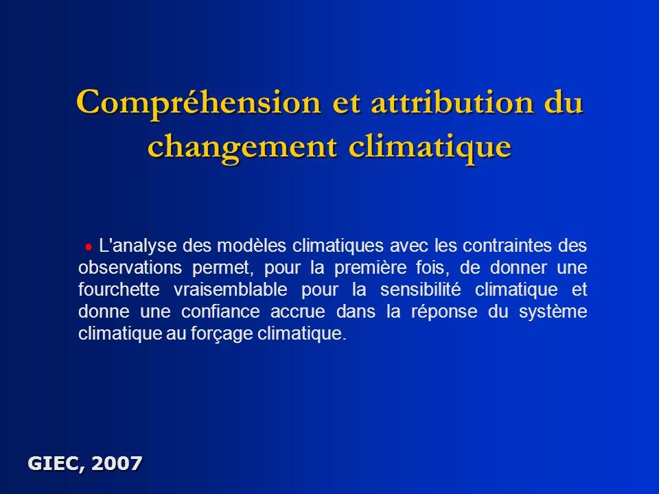Compréhension et attribution du changement climatique L'analyse des modèles climatiques avec les contraintes des observations permet, pour la première