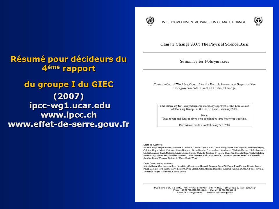 Résumé pour décideurs du 4 ème rapport du groupe I du GIEC (2007) ipcc-wg1.ucar.edu www.ipcc.ch www.effet-de-serre.gouv.fr