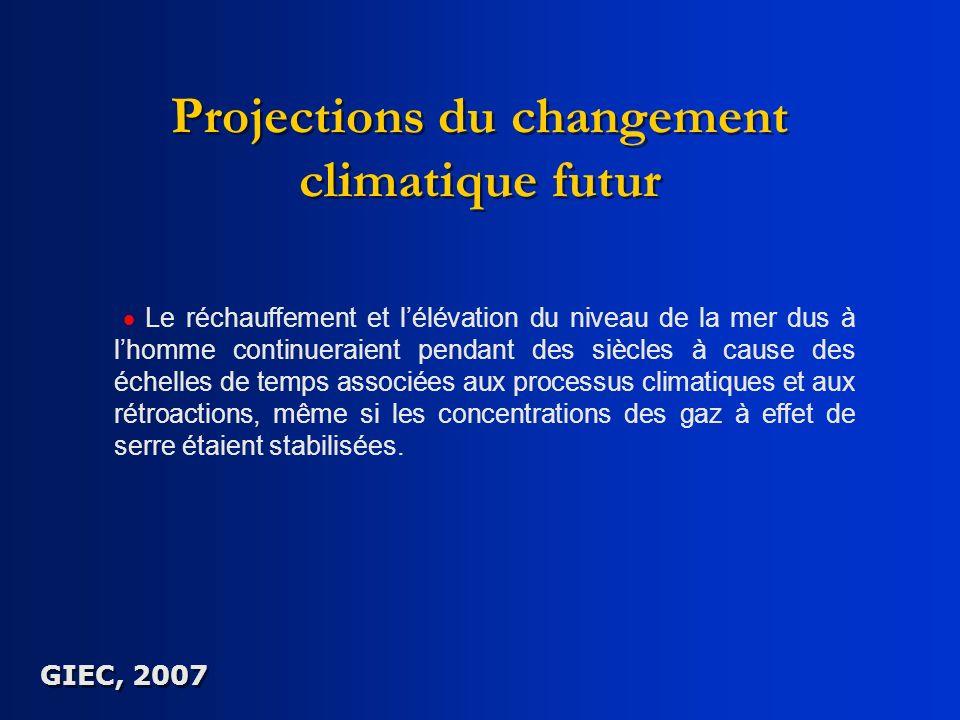 Projections du changement climatique futur Le réchauffement et lélévation du niveau de la mer dus à lhomme continueraient pendant des siècles à cause