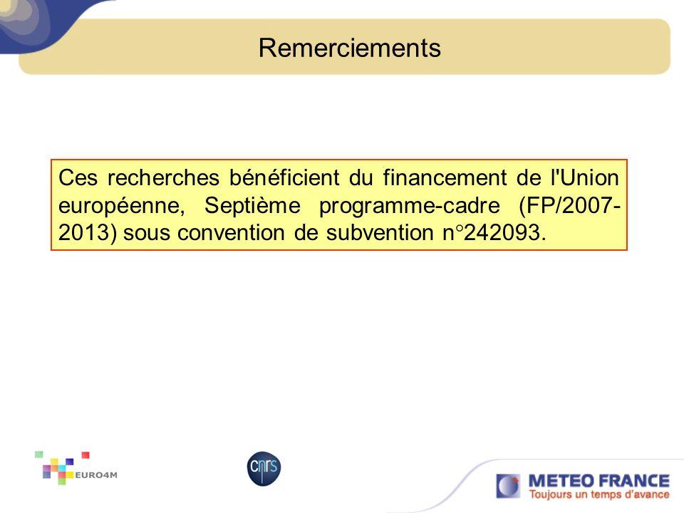 Remerciements Ces recherches bénéficient du financement de l'Union européenne, Septième programme-cadre (FP/2007- 2013) sous convention de subvention