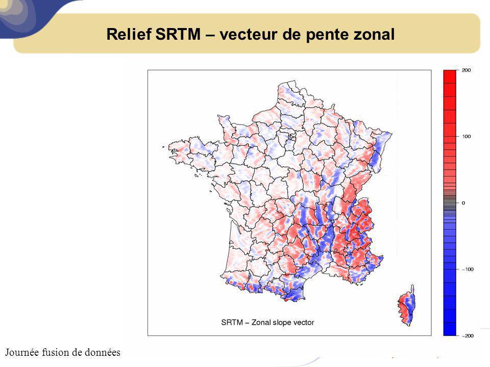 Relief SRTM – vecteur de pente méridien Journée fusion de données – 18 octobre 2011