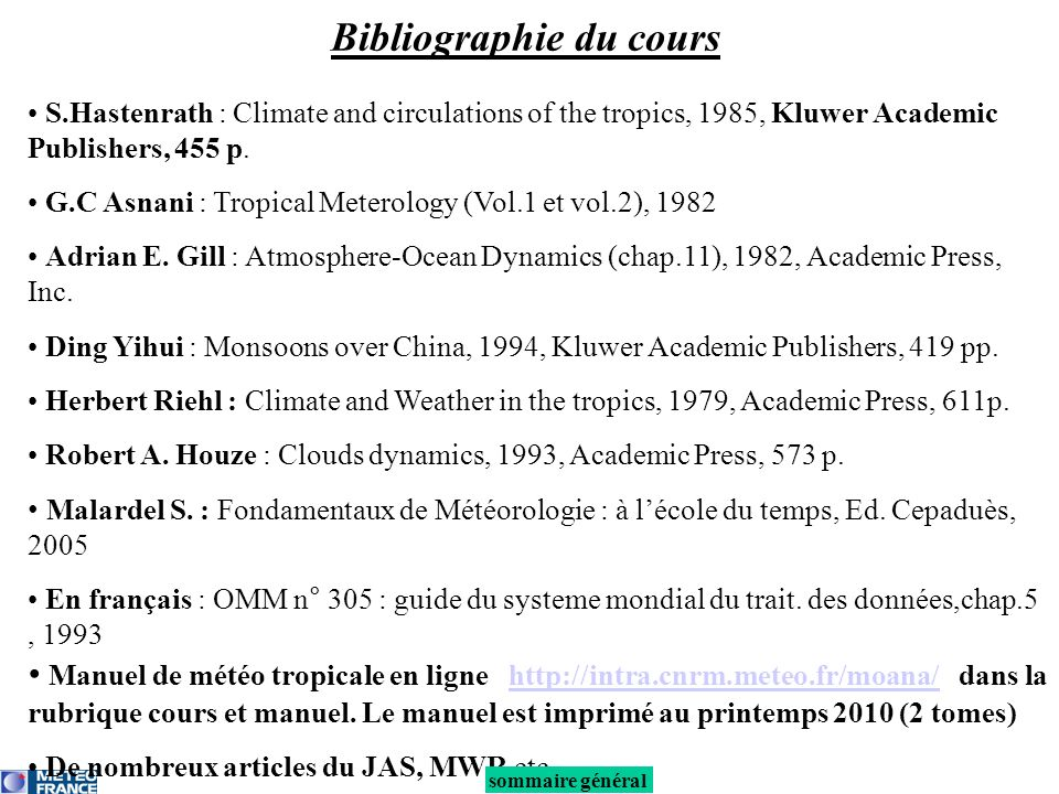 S.Hastenrath : Climate and circulations of the tropics, 1985, Kluwer Academic Publishers, 455 p. G.C Asnani : Tropical Meterology (Vol.1 et vol.2), 19