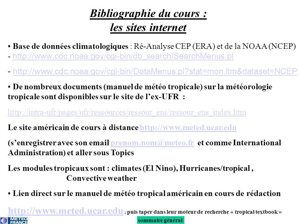 Base de données climatologiques : Ré-Analyse CEP (ERA) et de la NOAA (NCEP) - http://www.cdc.noaa.gov/cgi-bin/db_search/SearchMenus.pl http://www.cdc.noaa.gov/cgi-bin/db_search/SearchMenus.pl - http://www.cdc.noaa.gov/cgi-bin/DataMenus.pl stat=mon.ltm&dataset=NCEPhttp://www.cdc.noaa.gov/cgi-bin/DataMenus.pl stat=mon.ltm&dataset=NCEP De nombreux documents (manuel de météo tropicale) sur la météorologie tropicale sont disponibles sur le site de lex-UFR : http://intra-ufr/pages/ufr/ressources/ressour_ens/ressour_ens_index.htm Le site américain de cours à distance http://www.meted.ucar.eduhttp://www.meted.ucar.edu (senregistrer avec son email prenom.nom@meteo.fr et comme International Administration) et aller sous Topicsprenom.nom@meteo.fr Les modules tropicaux sont : climates (El Nino), Hurricanes/tropical, Convective weather Lien direct sur le manuel de météo tropical américain en cours de rédaction http://www.meted.ucar.edu http://www.meted.ucar.edu ; puis taper dans leur moteur de recherche « tropical textbook » sommaire général Bibliographie du cours : les sites internet