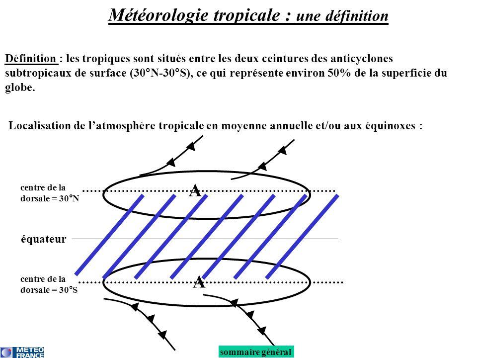 équateur A A centre de la dorsale = 30°N centre de la dorsale = 30°S Localisation de latmosphère tropicale en moyenne annuelle et/ou aux équinoxes : sommaire général Définition : les tropiques sont situés entre les deux ceintures des anticyclones subtropicaux de surface (30°N-30°S), ce qui représente environ 50% de la superficie du globe.