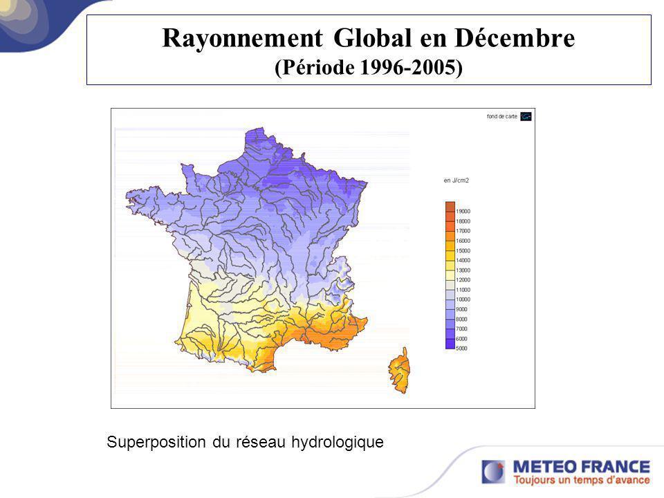 Rayonnement Global en Décembre (Période 1996-2005) Superposition du réseau hydrologique