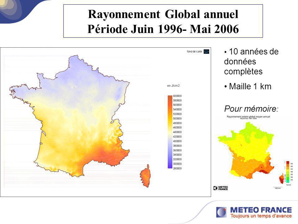 Rayonnement Global annuel Période Juin 1996- Mai 2006 Pour mémoire : 10 années de données complètes Maille 1 km