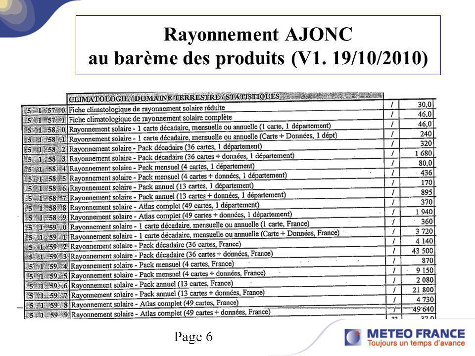 Rayonnement AJONC au barème des produits (V1. 19/10/2010) Page 6