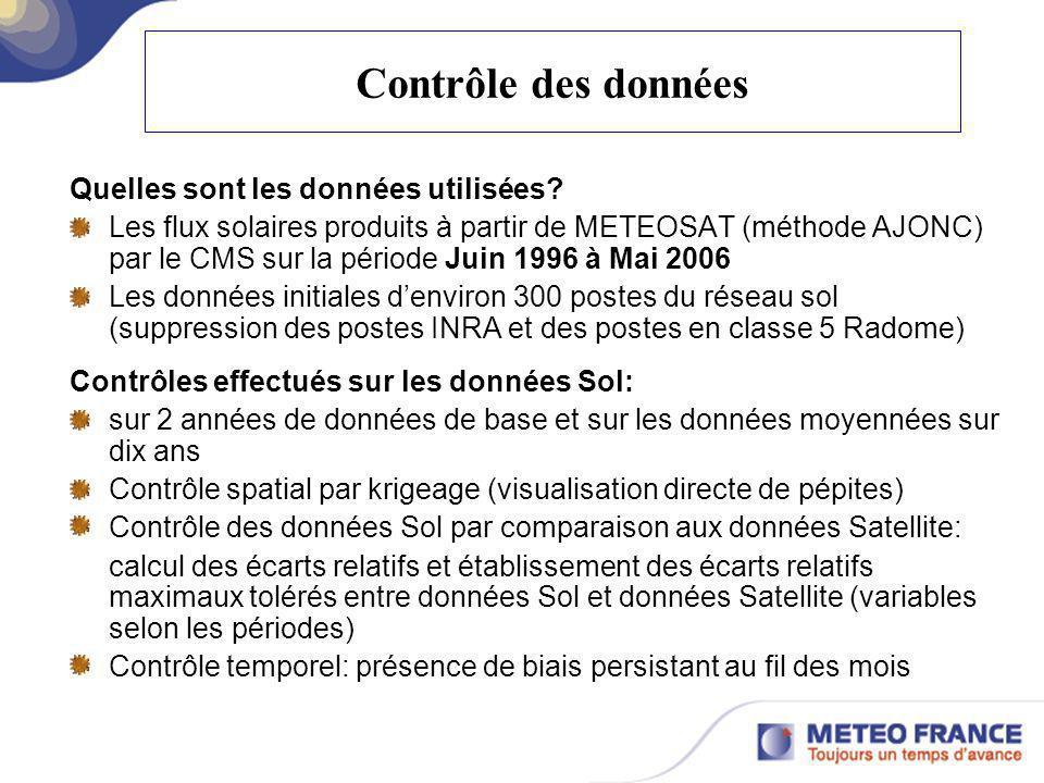 Contrôle des données Quelles sont les données utilisées? Les flux solaires produits à partir de METEOSAT (méthode AJONC) par le CMS sur la période Jui