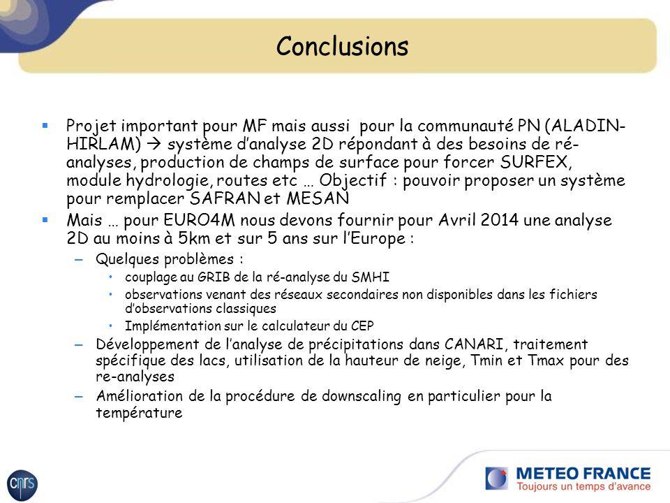 Conclusions Projet important pour MF mais aussi pour la communauté PN (ALADIN- HIRLAM) système danalyse 2D répondant à des besoins de ré- analyses, production de champs de surface pour forcer SURFEX, module hydrologie, routes etc … Objectif : pouvoir proposer un système pour remplacer SAFRAN et MESAN Mais … pour EURO4M nous devons fournir pour Avril 2014 une analyse 2D au moins à 5km et sur 5 ans sur lEurope : – Quelques problèmes : couplage au GRIB de la ré-analyse du SMHI observations venant des réseaux secondaires non disponibles dans les fichiers dobservations classiques Implémentation sur le calculateur du CEP – Développement de lanalyse de précipitations dans CANARI, traitement spécifique des lacs, utilisation de la hauteur de neige, Tmin et Tmax pour des re-analyses – Amélioration de la procédure de downscaling en particulier pour la température
