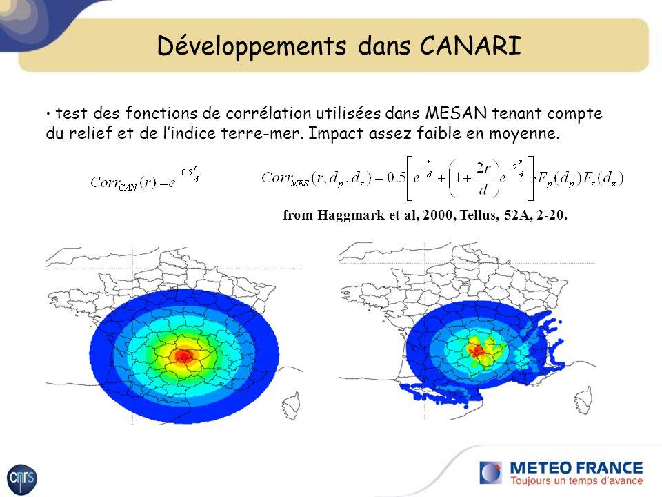 test des fonctions de corrélation utilisées dans MESAN tenant compte du relief et de lindice terre-mer.