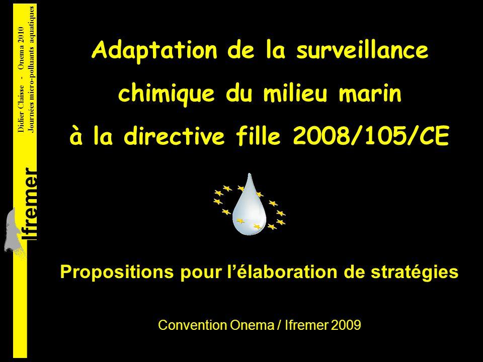 Adaptation de la surveillance chimique du milieu marin à la directive fille 2008/105/CE lfremer Didier Claisse - Onema 2010 Journées micro-polluants aquatiques Propositions pour lélaboration de stratégies Convention Onema / Ifremer 2009