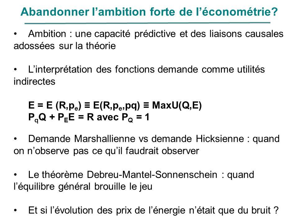 Abandonner lambition forte de léconométrie? Ambition : une capacité prédictive et des liaisons causales adossées sur la théorie Linterprétation des fo