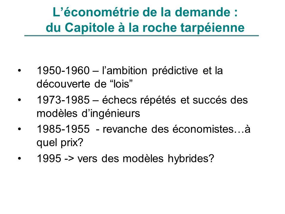 Léconométrie de la demande : du Capitole à la roche tarpéienne 1950-1960 – lambition prédictive et la découverte de lois 1973-1985 – échecs répétés et