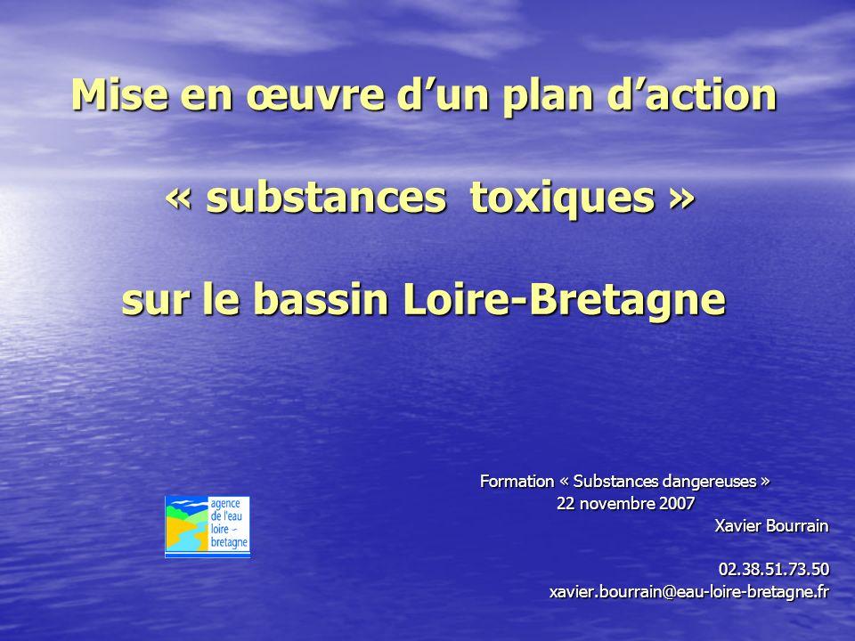 Mise en œuvre dun plan daction « substances toxiques » sur le bassin Loire-Bretagne Formation « Substances dangereuses » 22 novembre 2007 Xavier Bourrain 02.38.51.73.50xavier.bourrain@eau-loire-bretagne.fr