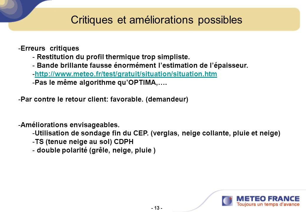 - 13 - Critiques et améliorations possibles -Erreurs critiques - Restitution du profil thermique trop simpliste.