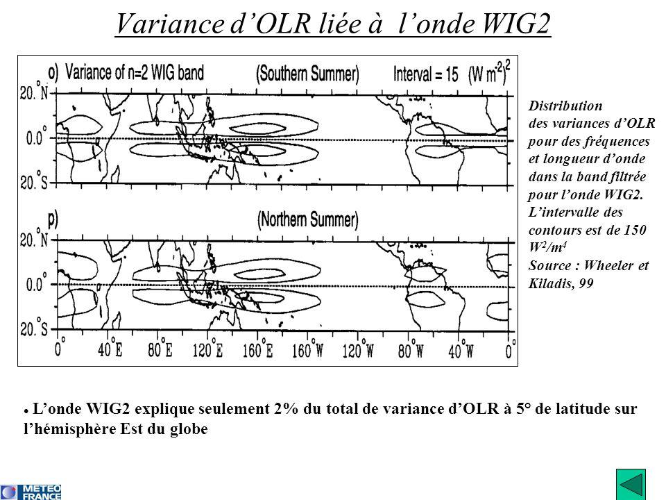 Londe WIG2 explique seulement 2% du total de variance dOLR à 5° de latitude sur lhémisphère Est du globe Variance dOLR liée à londe WIG2 Distribution