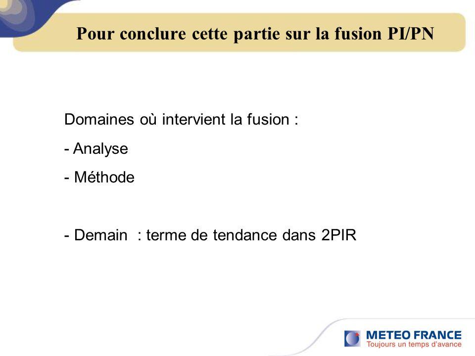 Pour conclure cette partie sur la fusion PI/PN Domaines où intervient la fusion : - Analyse - Méthode - Demain : terme de tendance dans 2PIR