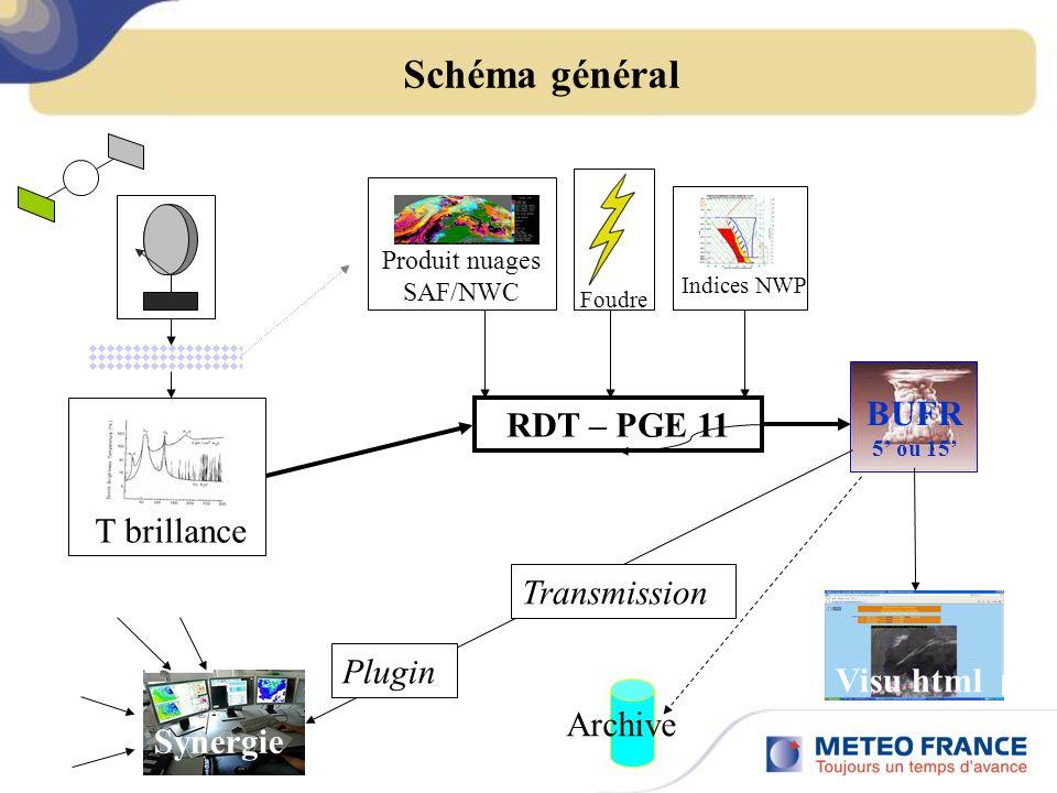 Schéma général RDT – PGE 11 Synergie Visu html Plugin Transmission BUFR 5 ou 15 Archive Produit nuages SAF/NWC Indices NWP Foudre T brillance