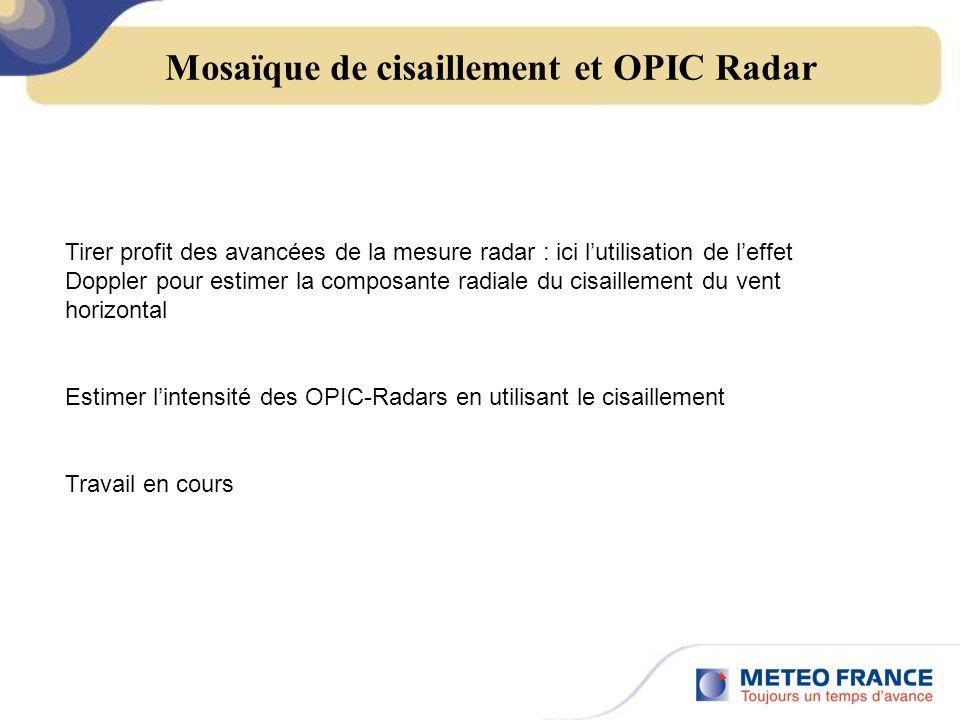 Mosaïque de cisaillement et OPIC Radar Tirer profit des avancées de la mesure radar : ici lutilisation de leffet Doppler pour estimer la composante radiale du cisaillement du vent horizontal Estimer lintensité des OPIC-Radars en utilisant le cisaillement Travail en cours