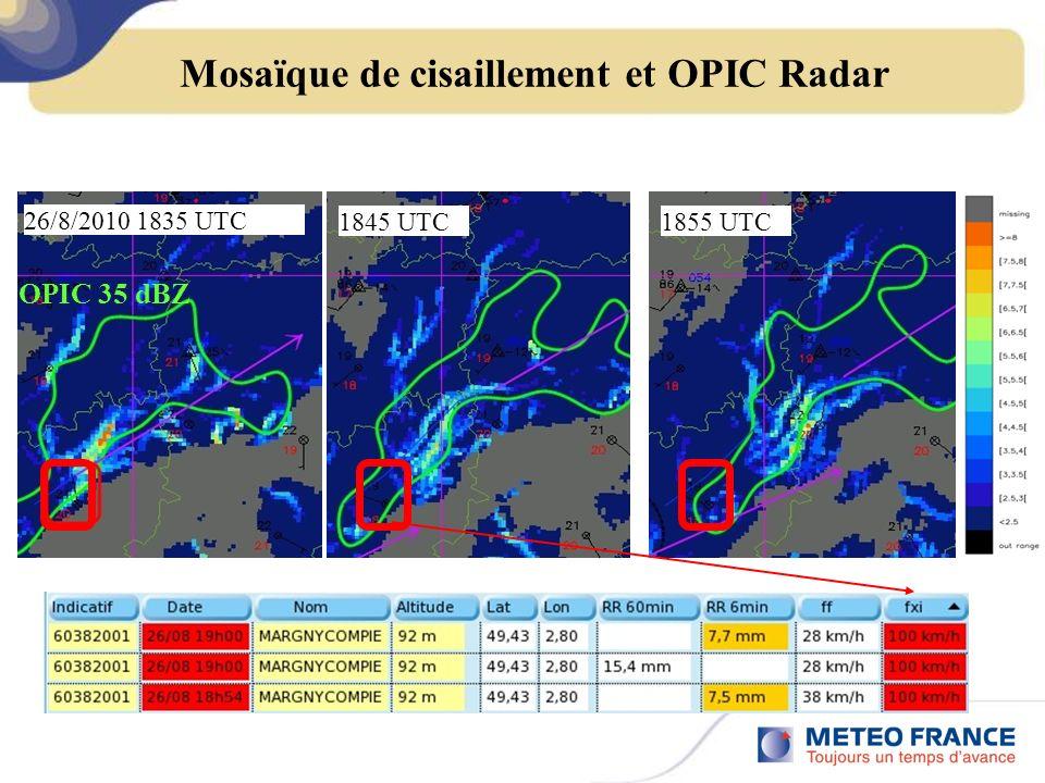 Mosaïque de cisaillement et OPIC Radar 26/8/2010 1835 UTC 1845 UTC1855 UTC OPIC 35 dBZ