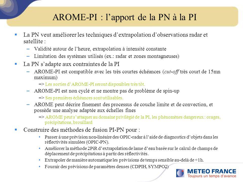 AROME-PI : lapport de la PN à la PI La PN veut améliorer les techniques dextrapolation dobservations radar et satellite : – Validité autour de lheure, extrapolation à intensité constante – Limitation des systèmes utilisés (ex.: radar et zones montagneuses) La PN sadapte aux contraintes de la PI – AROME-PI est compatible avec les très courtes échéances (cut-off très court de 15mn maximum) => Les sorties dAROME-PI seront disponibles très tôt.