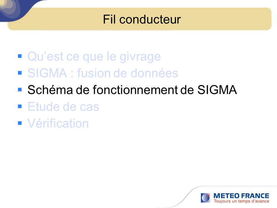 Fil conducteur Quest ce que le givrage SIGMA : fusion de données Schéma de fonctionnement de SIGMA Etude de cas Vérification