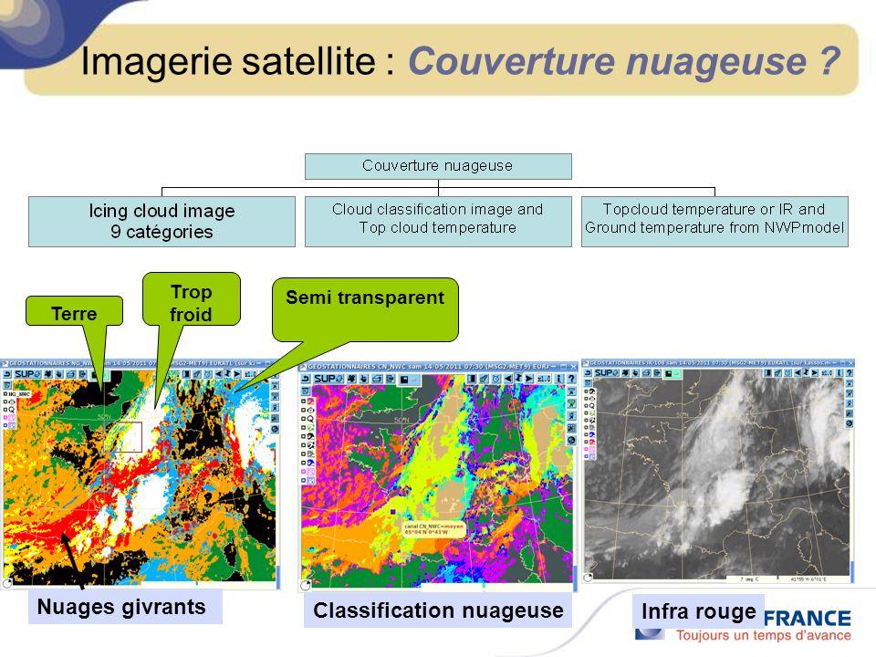 Imagerie satellite : Couverture nuageuse ? Nuages givrants Classification nuageuse Infra rouge Terre Trop froid Semi transparent